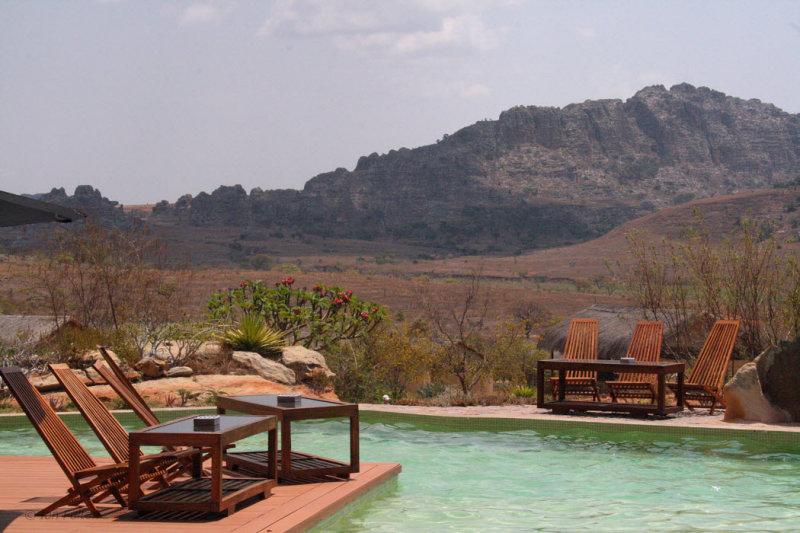 The pool terrace at the Satrana Lodge Hotel, Ranohira, Isalo