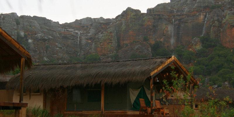 Storm and waterfalls at the Satrana Lodge Hotel, Ranohira, Isalo
