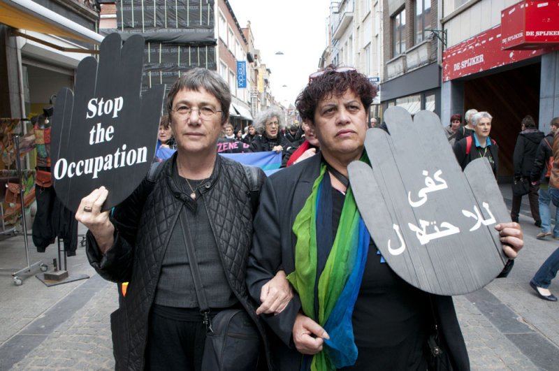 Jewish and Palestinian Israeli together against the occupation
