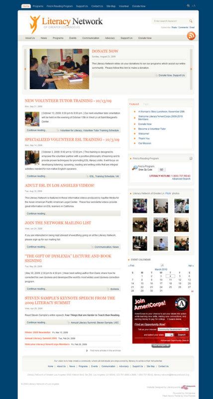 Literacy Network of Greater LA - Wordpress Theme (2008)