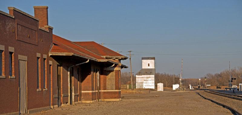 Florence, KS old grain elevator and Santa Fe depot.