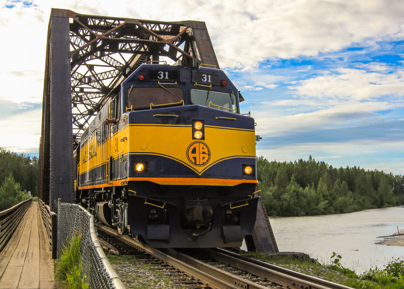 "The Alaska Rail Road ""daily train"" passes over the Talkeetna River"