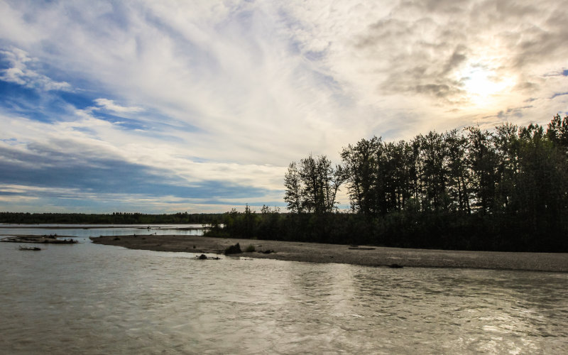 View of the confluence of the Talkeetna, Susitna and Chulitna Rivers from the Talkeetna River Bridge