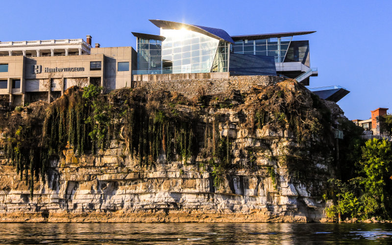 Early morning sunlight reflects off of the Hunter Museum of American Art in Chattanooga Tennessee