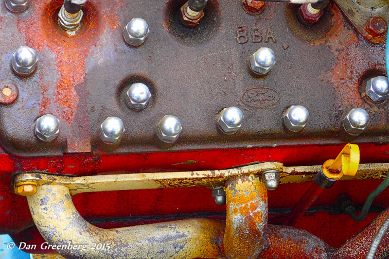 Colorful, Rusty Jalopy Engine Abstract