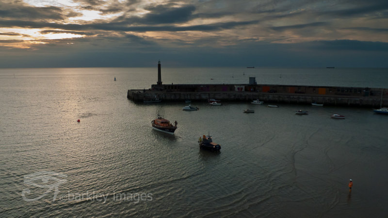 Margate Lifeboat Coming Home at Sunset