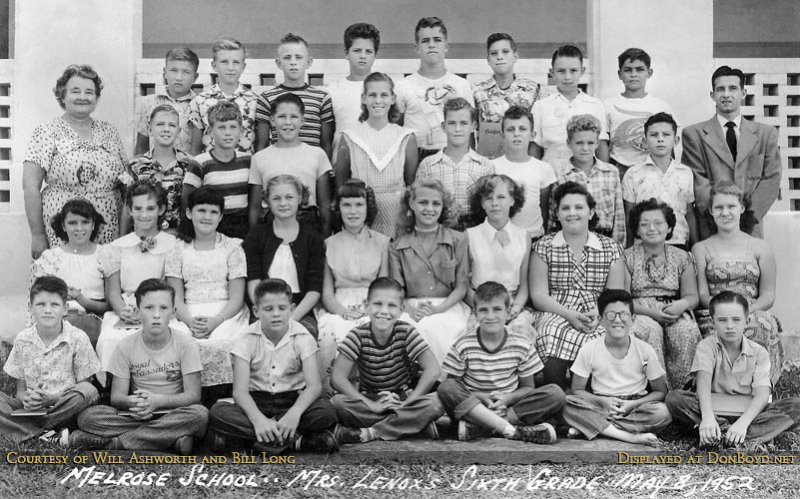 1952 - Mrs. Lenoxs 6th Grade Class at Melrose Elementary School (names on next page ->)