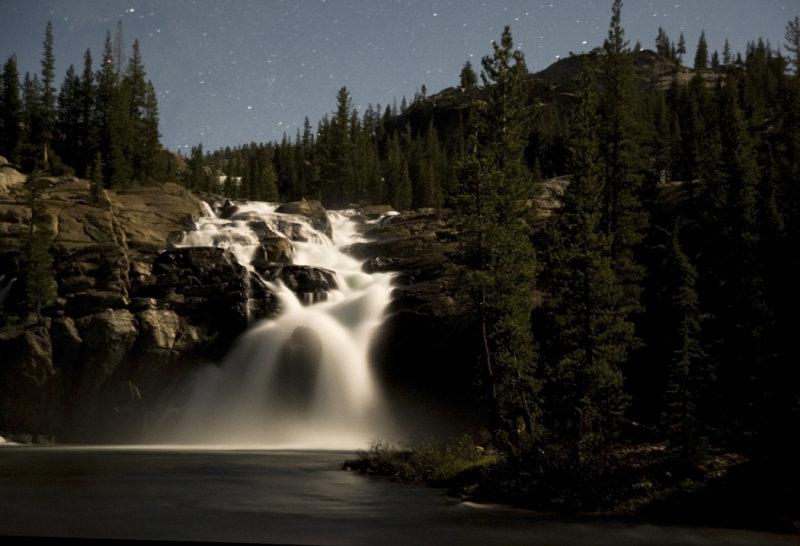 Glen Aulin. Water fall underthe moon light.