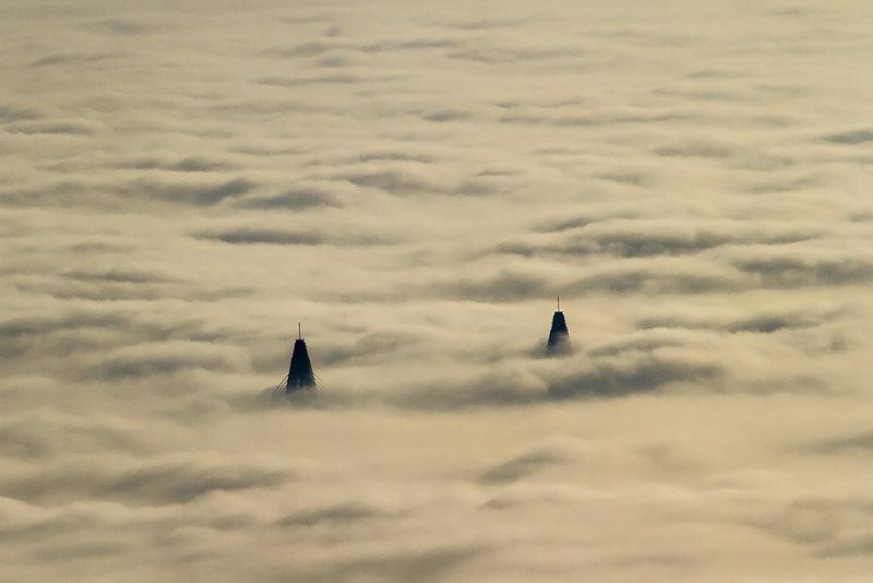Bridge heads above the fog