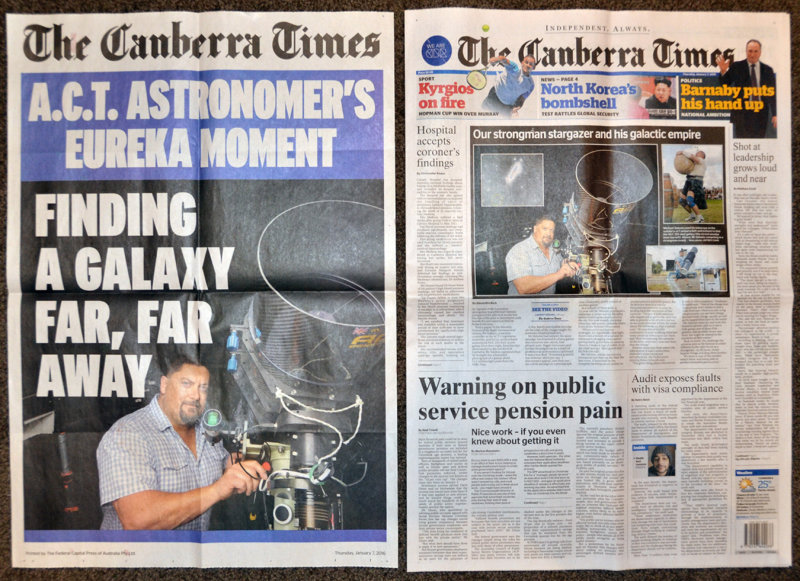 Canberra Times front page lead story 7 January 2016
