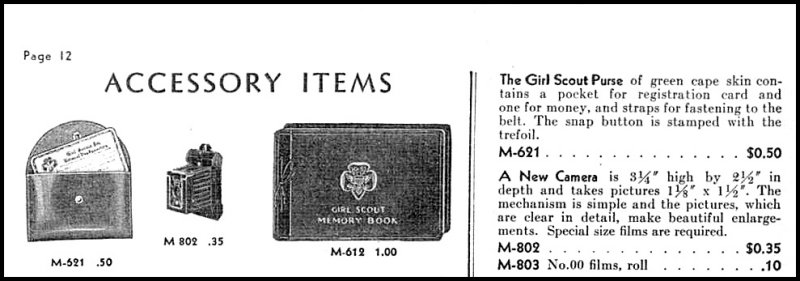 Page of Gurl Scout Catalog, year 1933