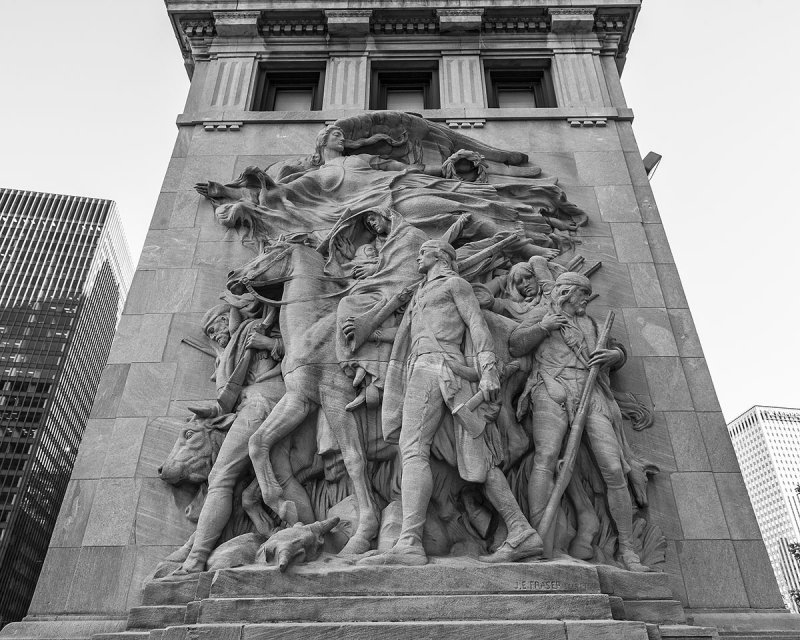Image result for city of chicago pioneers and discoverers sculpture bridge