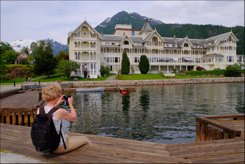22. Eva in front of the beautiful old Kviknes Hotel,Balestrand....