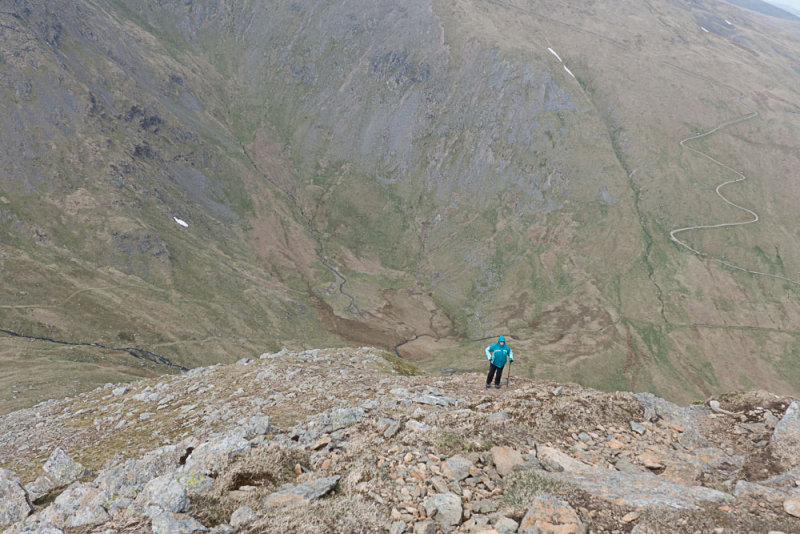 Struggling up Catstycam NW ridge