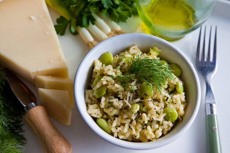 Risotto with Green Herbs and Lima Beans
