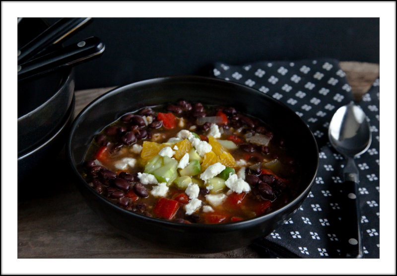 Black Bean Soup with Avocado, Orange and Cucumber