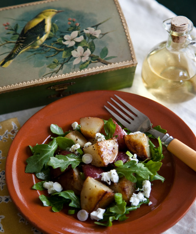 Roasted Potato Salad with Arugula and Goat Cheese