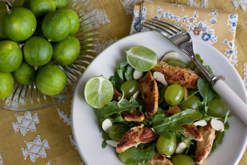 Chickn Strips with Arugula, Grape and Almond Salad with Curry Vinaigrette