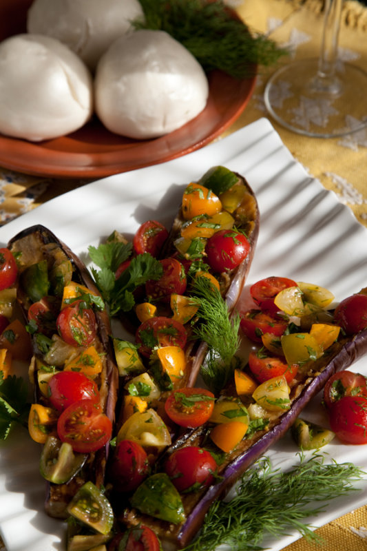 Miso-Roasted Eggplants with Tomatoes, Dill, Cilantro and Black Vinegar