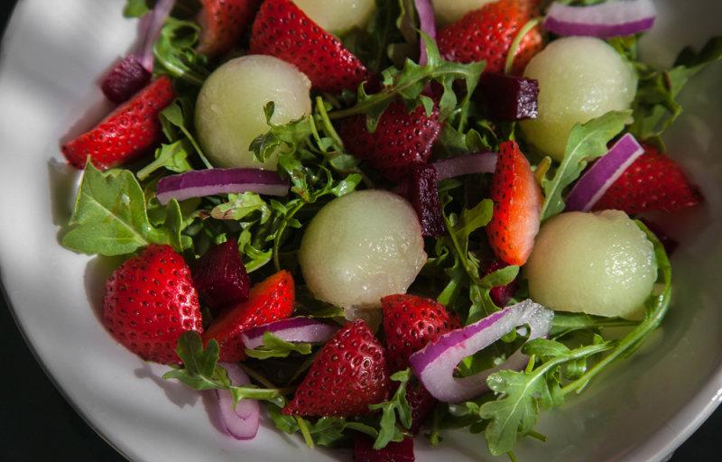 Arugula, Strawberry and Goldendew Salad