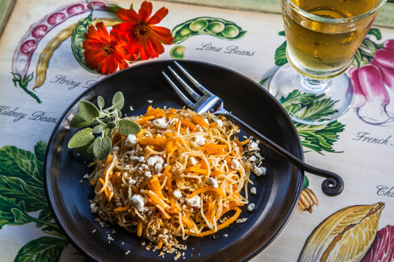 Butternut Squash and Angel Hair Pasta with Goat Cheese