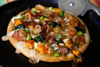 Roasted Butternut Squash, Caramelized Onions and Bacon Pizza