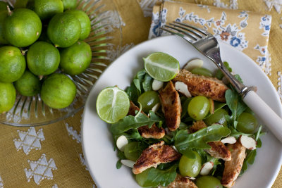 Chick'n Strips with Arugula, Grape and Almond Salad with Curry Vinaigrette
