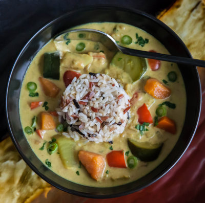 Malaysian Vegetable Stew with Gingery Coconut Milk