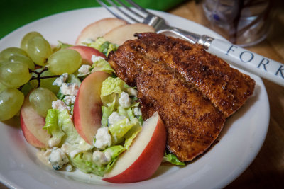 Blue Cheese Caesar Salad with Salmon, Nectarines and Grapes