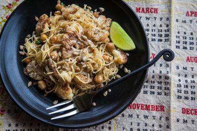Pasta with Cauliflower, Chickpeas, Pumpkin Seeds, Brown Butter and Lime