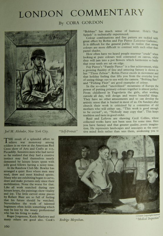 Cora Gordons London Commentary in the October 1944 issue of The Studio. Authors collection.