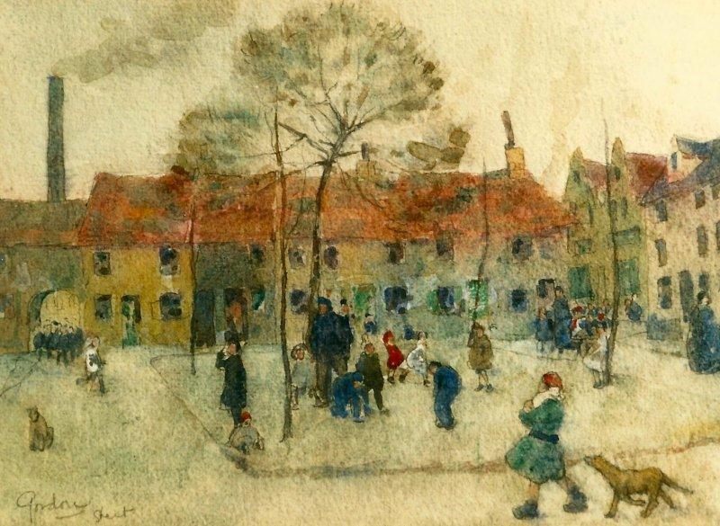Jan Gordon watercolour of a Ghent square, ca 1910.