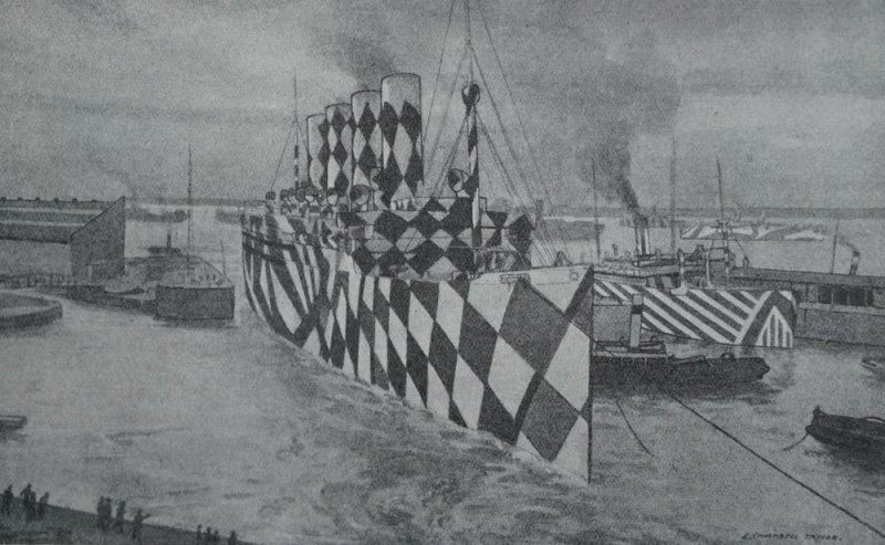 H.M.T. Mauretania entering half-tide dock at Liverpool. Water colour by Lieut. L. Campbell Taylor R.N.V.R.