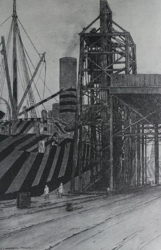 Dazzled ship taking in coal at Liverpool. Water colour by Lieut. L. Campbell Taylor R.N.V.R.