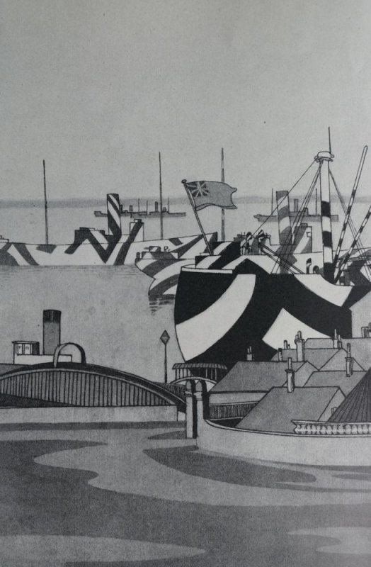 S.S. Minnedosa at Liverpool after disembarking American troops. Water colour by Lieut. Guy Kortright, R.N.V.R.