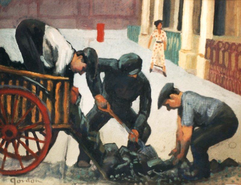 Coal shovellers, Bayswater, London.