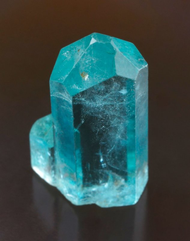 Beryl var aquamarine. 20 mm choice terminated crystal with smaller crystal in parallel growth. Kaduna State, Nigeria.