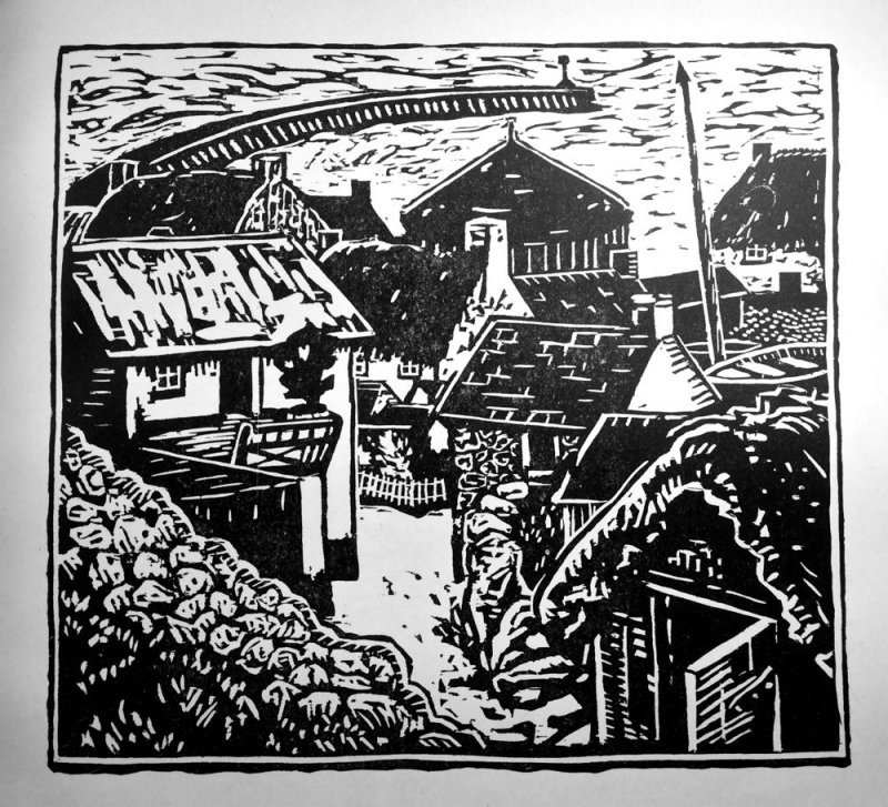 Sennen Cove by Cora Gordon, a woodcut reproduced in the first volume of The Apple (of Beauty and Discord) 1920.
