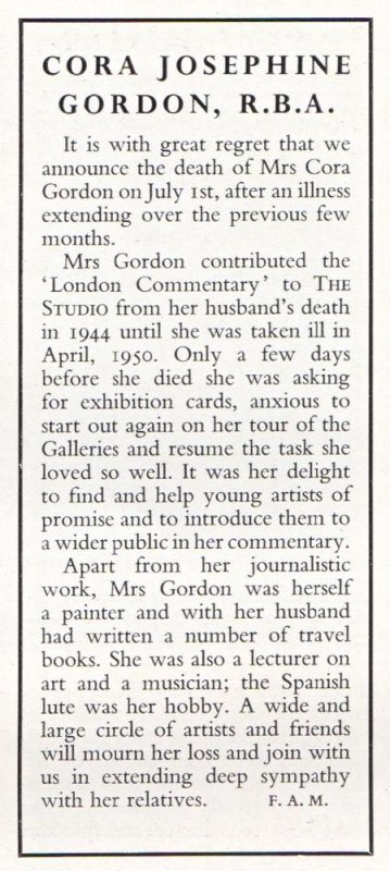 Cora Gordon obituary in THE STUDIO September 1950