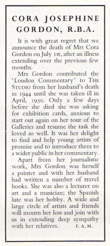 Cora Gordon obituary in THE STUDIO September 1950