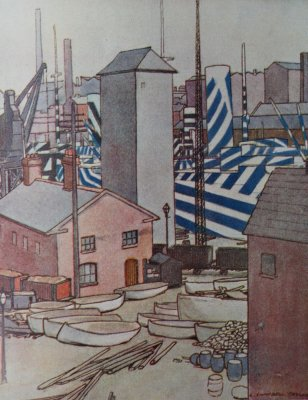 Dazzled ships in Canada Dock, Liverpool. Water colour by Lieut. L. Campbell Taylor R.N.V.R.