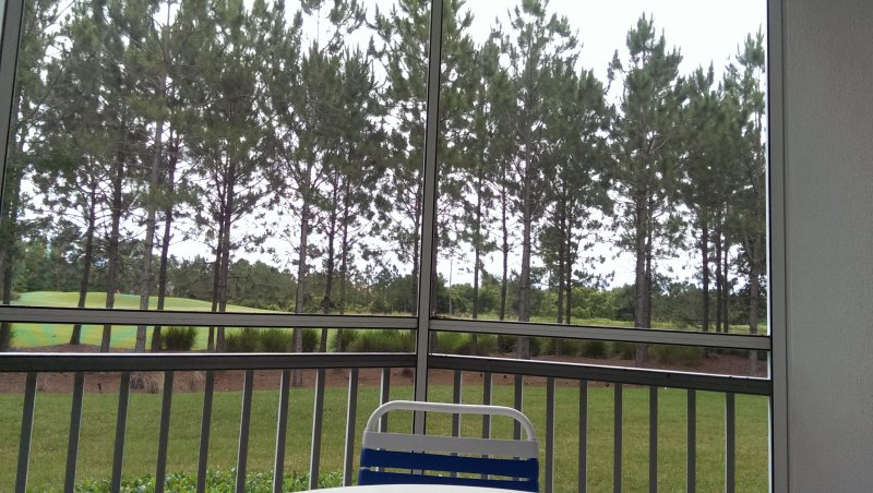Our timeshare in Orlando -sitting on the deck overlooking the golf course in the rain