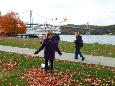 Ida and the leaves. NY fall, 2014