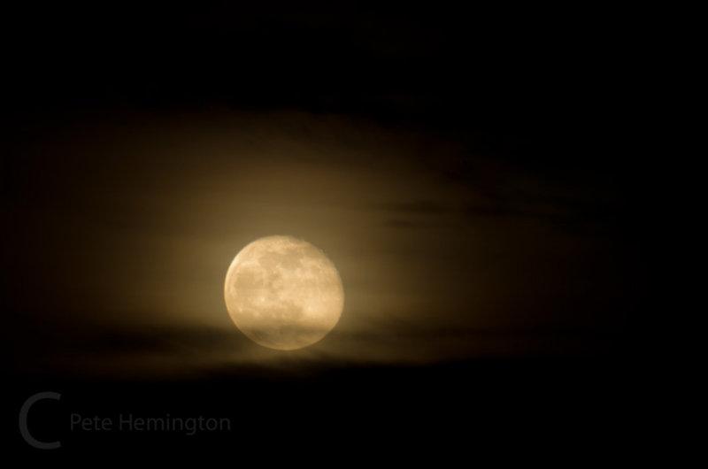Waning moon just after rising