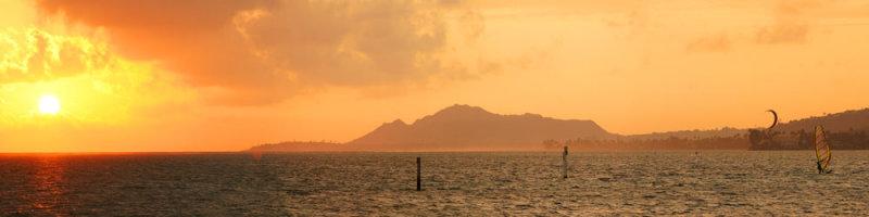 Maunalua Bay Sunset with Windsurfers