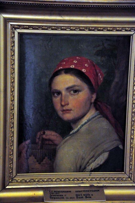 Alexey Venetsianov  - Girl with a bast box (1824) - 9318