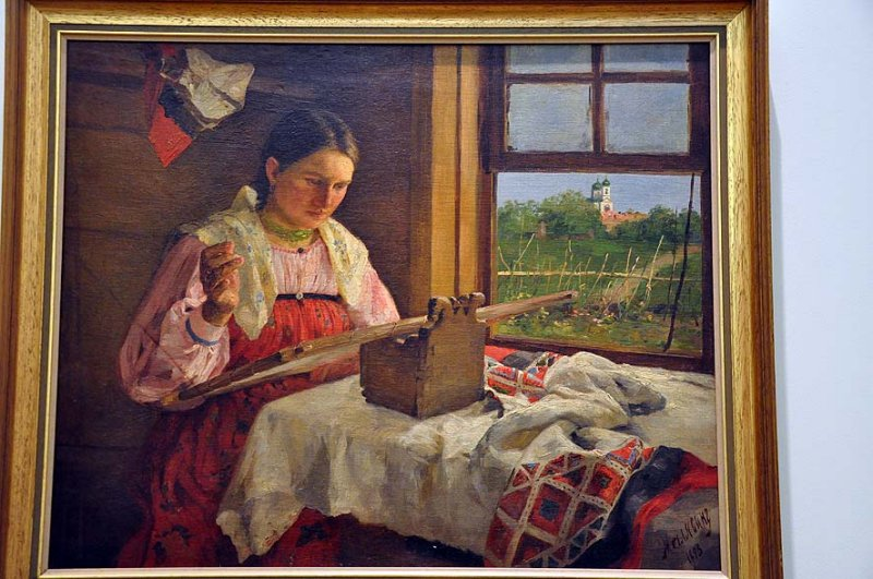 Philipp Malyavin (1896-1940) - Peasant girl with embroidery - 9607