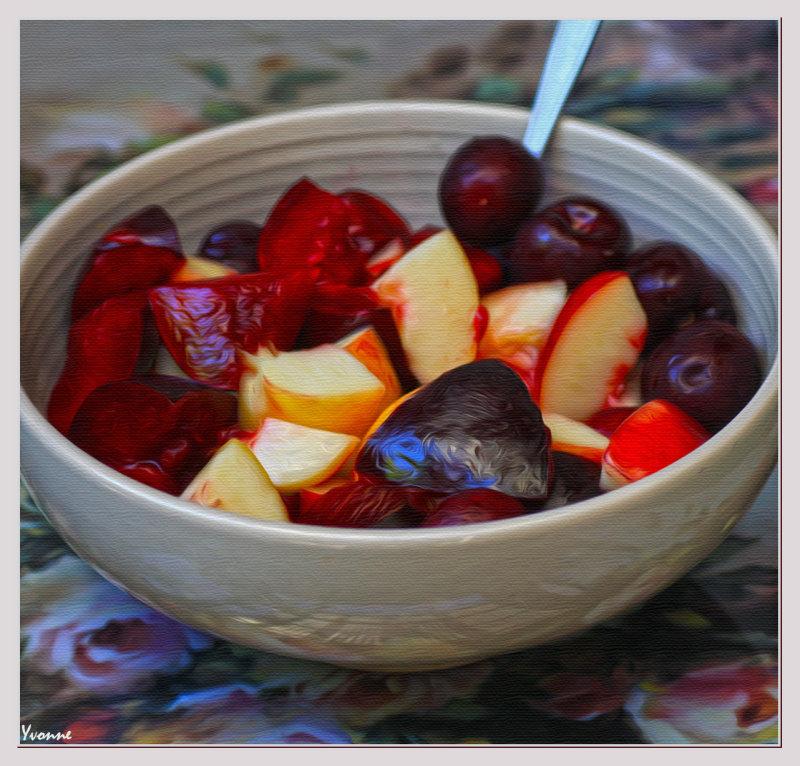 Plums peaches & cherries