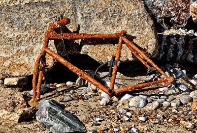 Old Bike on the beach at Happisburgh