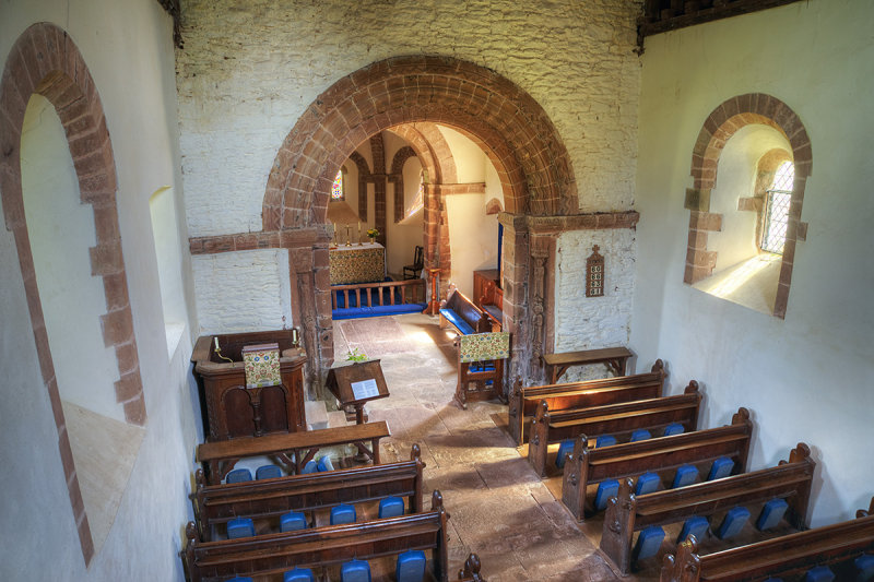 Kilpeck church interior from gallery